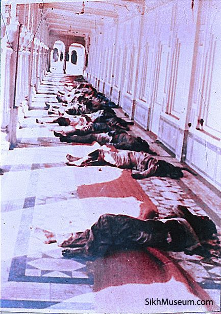 1984 Indian Army attack on the Sikh Golden Temple Complex in Amritsar, Punjab. Dead Sikh bodies and large pools of blood on the once beautiful covered marble parkarma. To learn more see the SikhMuseum.com Exhibit - Operation Bluestar