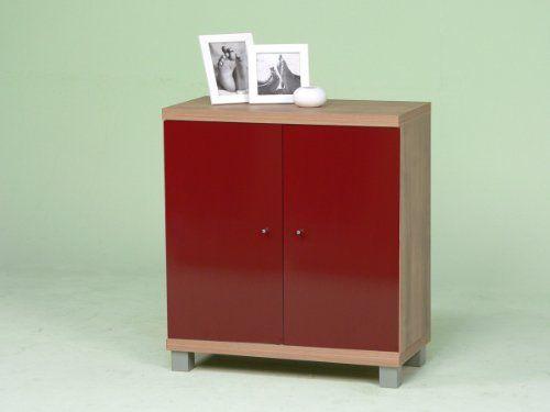 Kommode / Anrichte / Sideboard mit 2 Türen - Noce / Nussbaum hell - Rot glänzend