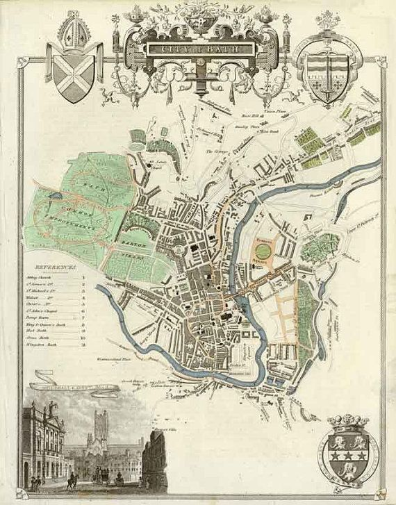Bath 1837. Antique map of the City of Bath, England by Thomas Moule - MAP PRINT