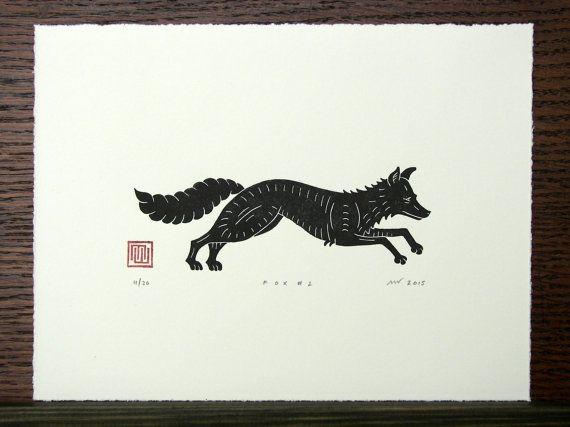 Linosnede afdrukken Fox / / handgemaakte / / door InkshedPress