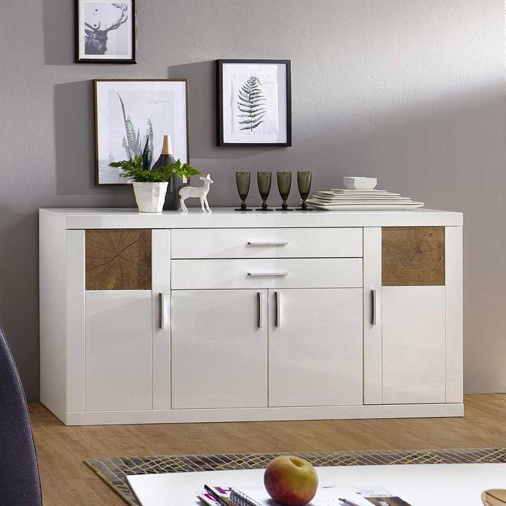 Wohnzimmer Sideboard In Weiss Hochglanz Holz Dekor Modern Jetzt Bestellen Unter