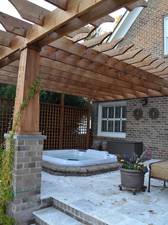 Back Corner By Garage Patio Lattice Design Pictures