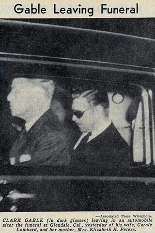 Clark Gable leaving the funeral of his wife Carole Lombard & her mother.