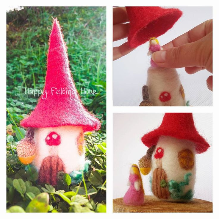 Needle felted Fairy house with fairy and removable roof by HappyFeltingHour on Etsy