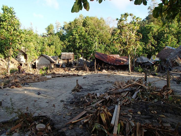 Villages destroyed by natural disaster in the Solomon Islands. This is what Frannie would have encountered on Kilakuru.