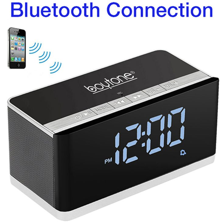 boytone bt 86c bluetooth 4 1 portable alarm clock radio wireless speaker digital fm products. Black Bedroom Furniture Sets. Home Design Ideas
