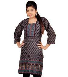 Buy Jaipur Designer Multi Print Black Cotton Kurti 171 kurtas-and-kurti online