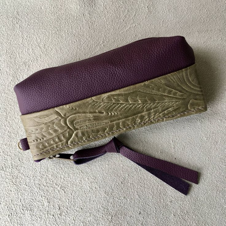 Leather Glasses case small phone case accessories bag great for jewelry when traveling Purple Olive Embossed leather Pat Halpen Leather by SkyPathDesign on Etsy