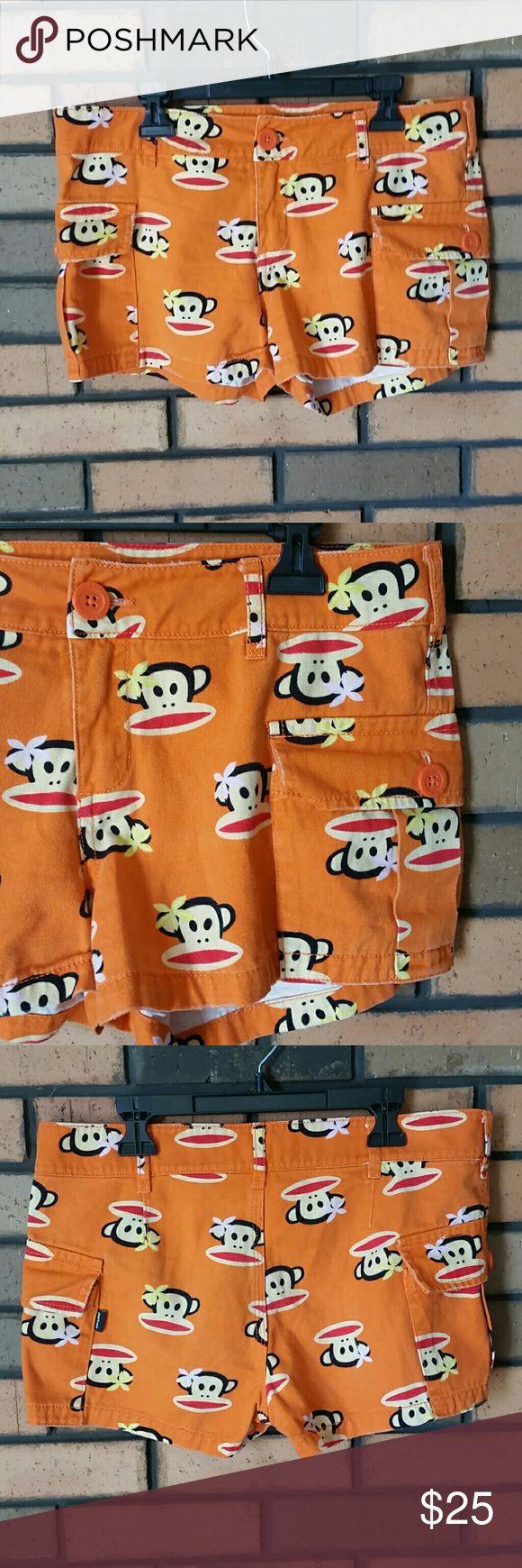 "Women's Paul Frank orange Monkey shorts Such fun shorts! Waist measures 15.5"" laying flat, 2"" inseam. I discount bundles! Make me an offer! Paul Frank Shorts"