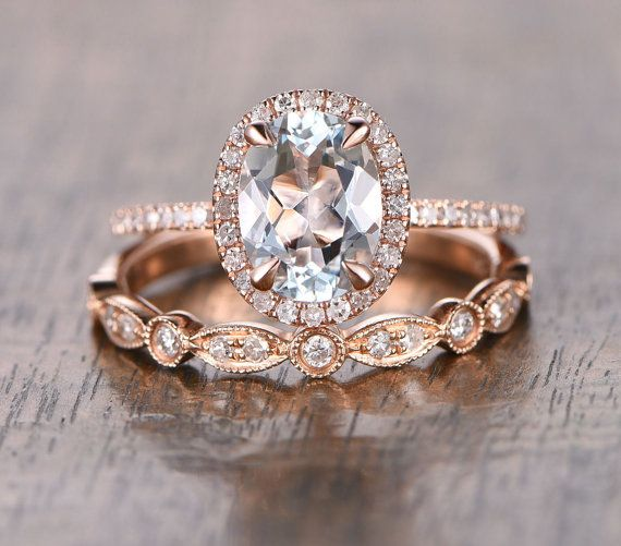 Oval Aquamarine Diamond, Halo Engagement Ring, Rose Gold Art Deco, Wedding set,  Aquamarine Wedding set, Diamond, Rose Gold, Halo Diamond