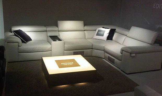 Fabio Cinema sofa (E) Corner sofa as pictured with 2 Manual Recliners (excludes cup holder)