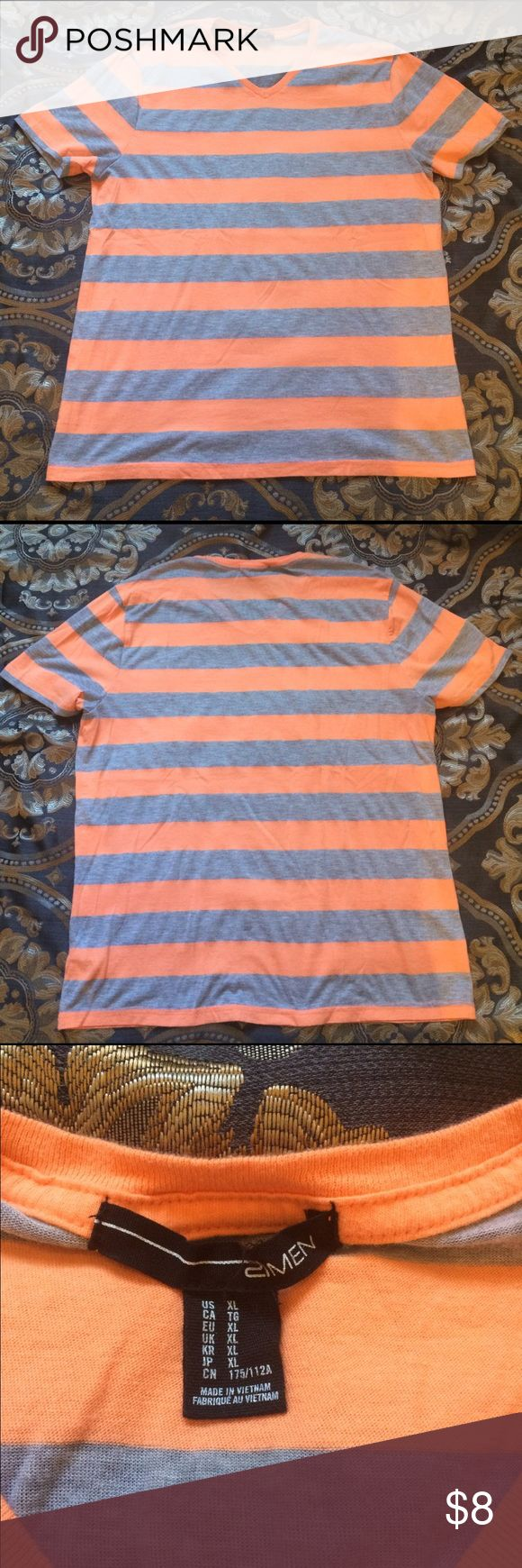 Grey and orange striped shirt Shirt says xl but it's from forever 21 men so it fits like a typical large. Only worn once. 21men Shirts Tees - Short Sleeve