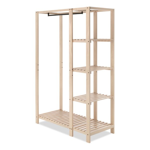 Whitmor's Slat Wood Wardrobe adds additional space to your bedroom or closet while also showcasing the beauty of wood built products. The unit features lacquer finished natural wood with a metal hangi