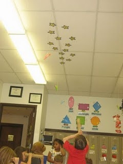 Star words on ceiling, kids use telescope (paper towel roll) to find them, record on sheet