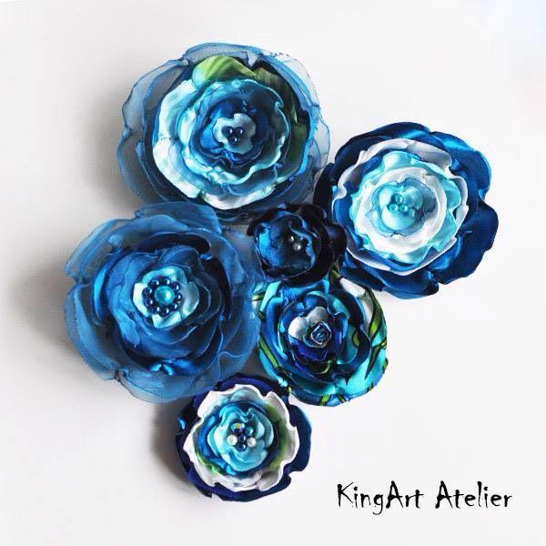 Turquoise satin flower collection (KingArt Atelier)