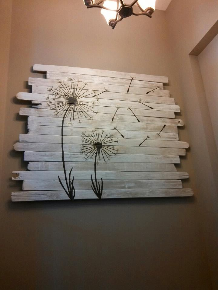 Fence wood dandelion painting by Inspiremehomedecor on Etsy, $400.00