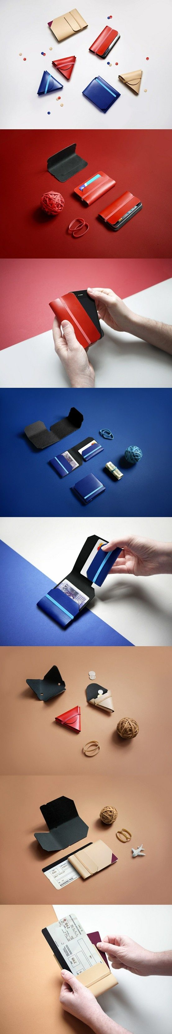 Nothing Fancy is a collection of non-stitched minimalist solutions for the wallet, re-imagined for the contemporary lifestyle. Using only a foldable leather hide template and rubber bands and eliminating everything else (stitches, snaps, zippers, etc.), Chieh delivers a wallet, a coin case, an iPhone holder and a passport holder within the same principles.