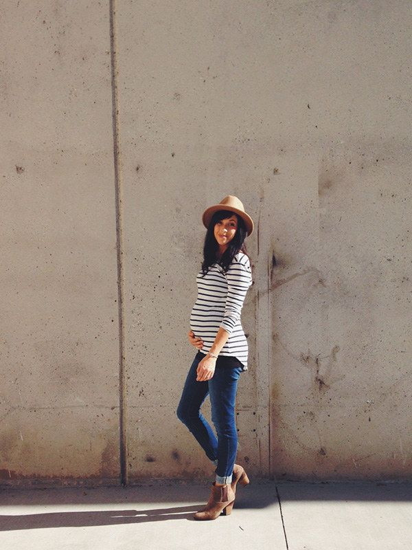 Horizontal stripes? OMG. | 21 Cool Ways To Own Maternity Style When You're Pregnant
