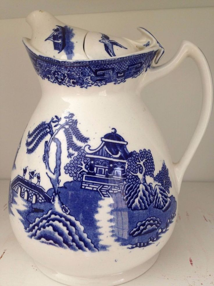 Antique 8/'/' Circa 1900 BOWL Blue Serving Medium Landscape Cauldon And White Cereal English Porcelain