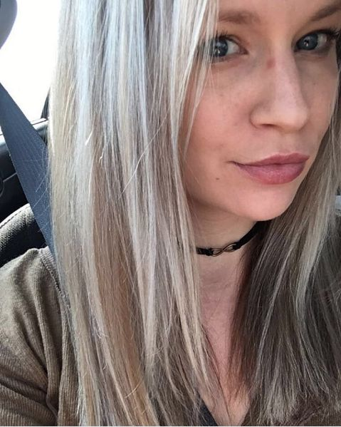 Chelsey is in love with her beautifully blonde hair by James. Client selfies are the best! (highlights, icy blonde, lowlights)