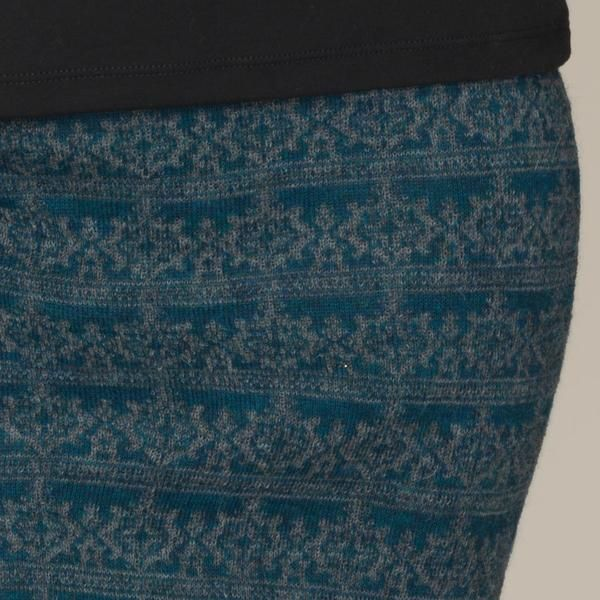Rosa baby alpaca double faced jacquard pattern skirt teal blue green detail