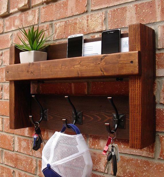 Rustic Entryway Foyer 3 Hanger Hook Coat Rack + Mail Holder Phone Key Organizer