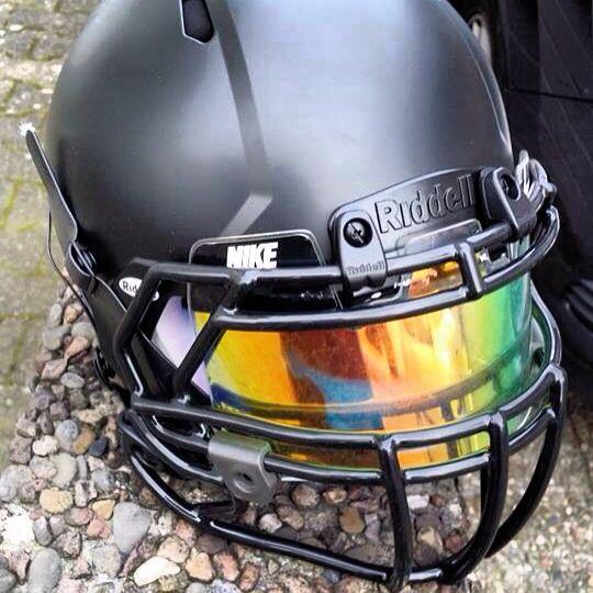 SHOC iridium insert in a Nike Football visor on a blacked out Riddell Revo Speed www.shocvisor.com