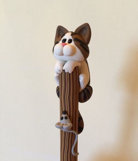 Polymer Clay Brown Tabby Cat Ballpoint Pen by handmademom on Etsy