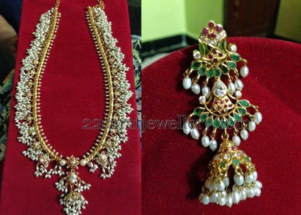 Jewellery Designs: Pearl Mala with Long Hangings