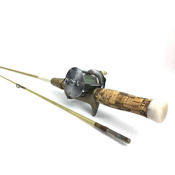 Vintage Fishing Rod and Reel 1960s Longfellow Fishing Rod and Reel Vintage Fishing Pole Old Rod and Reel 1964 Shakespeare Marhoff Baitcaster ($45) found on Polyvore