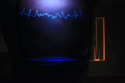 It's the outline of New York City. It starts as an EKG heartbeat, then spikes into the skyline.