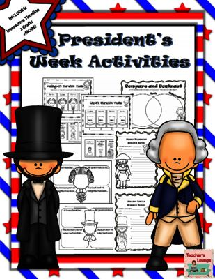 Presidents Week Activities, Crafts, Interactive Timeline from Teacher's Lounge on TeachersNotebook.com -  (36 pages)  - Loaded with activities, crafts, interactive timelines, and writing prompts. President's Week has never been so much fun!