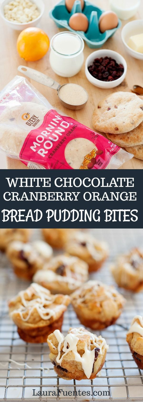 White Chocolate Cranberry Orange Bread Pudding Bites for dessert or Christmas breakfast! Little bites of soft, light bread pudding, decked with cranberries, fresh hints of orange, and drizzled in a homemade white chocolate glaze.#ozerybakery #ozery #ozerycreations #ad