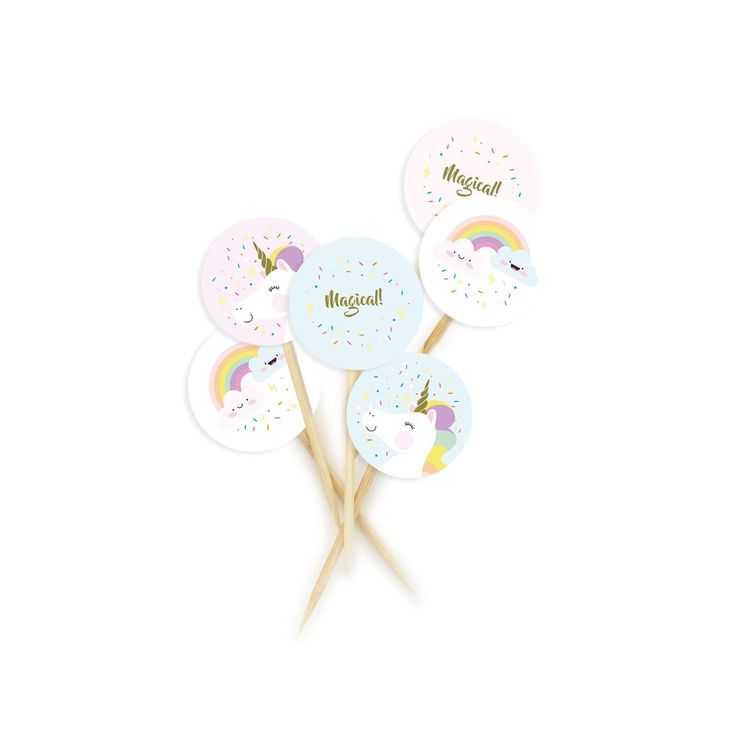 Rainbow Unicorn Cupcake Toppers – Lucky Lulu Party Shop