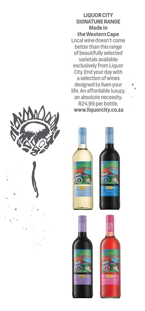 LIQUOR CITY SIGNATURE RANGE - Made in the #WesternCape.  Local wine doesn't come better than this range of beautifully selected varietals available exclusively from Liquor City. End your day with a selection of wines designed to liven your life. An affordable luxury, an absolute necessity. R24.99 per bottle.