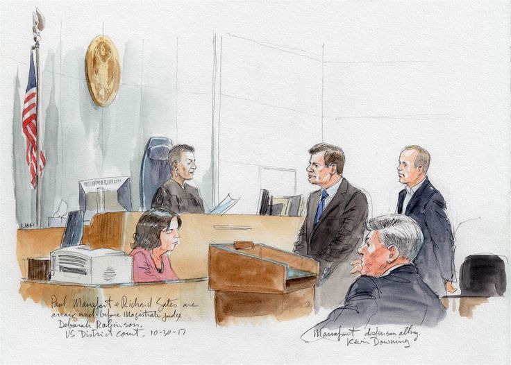 A courtroom sketch of Paul Manafort and Richard Gates appearing before magistrate judge Deborah Robinson