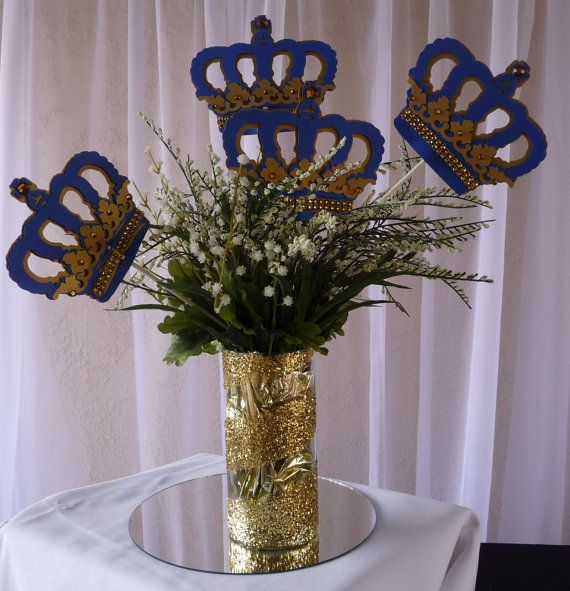 Royal Crown Centerpiece Stick/ Royal blue by CreationsCuadraHauck