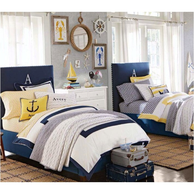 Nautical Decorating Ideas For Kids Rooms From Pottery Barn Kids I Really  Like The Navy With Pops Of Color Of Yellow.