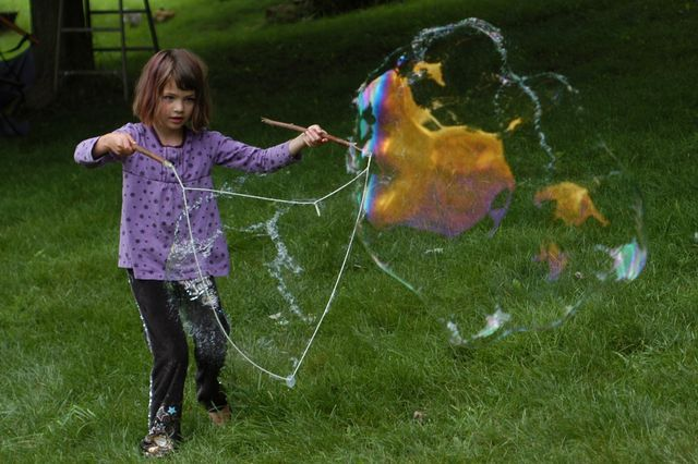 Giant bubble wands made from everyday stuff.
