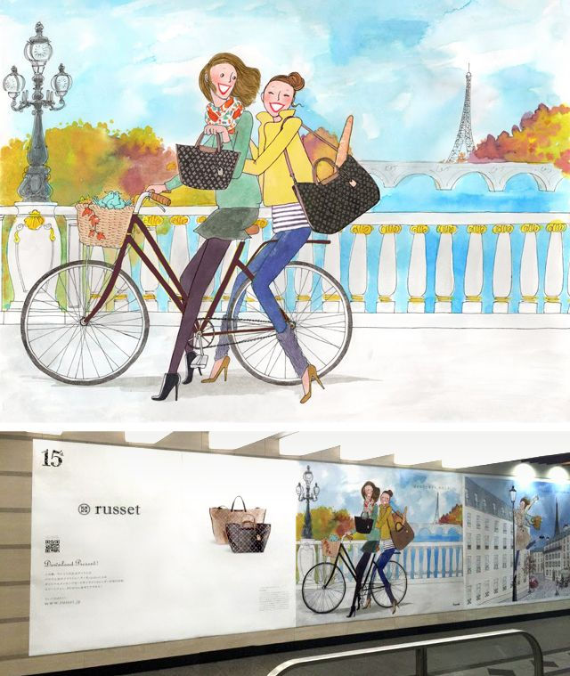 Le parisiennes de Kanako déménagent au Japon ! Elles s'affichent grandeur nature dans le métro de Tokyo avec la jolie campagne réalisées pour la marque de maroquinerie Russet.