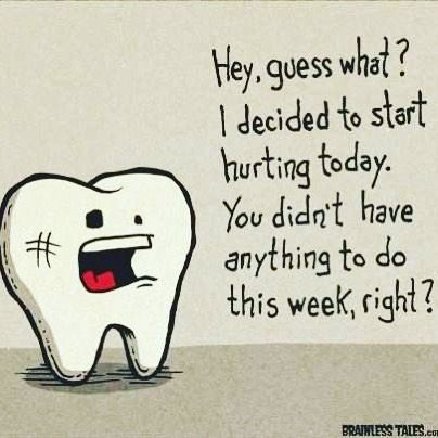 Good morning !!! Ever had this happen to you ? Woke up  took a bite of something and ... Whoa !! PAIN. It's best at any sign of pain to call your dentist . When caught early cavities or carries can be filled without further damage to the tooth and root. If left untreated these small cavities can turn into more major tooth repairs - such as root canals  crowns  bridges and ultimately extractions . No smile is too far gone for our Doctors  but early prevention is key for tooth retention…