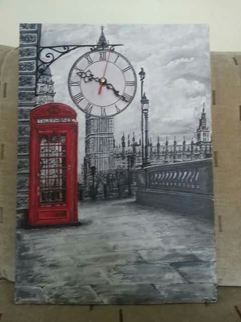35*50 tuval akrilik el boyama Londra saat calisiyor