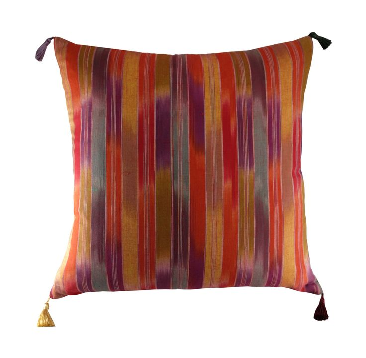 """Striped Ikat Pillow Cover, 40x40cm, Cushion with Tassels, 16x16"""" Bohemian Cushion, Boho Cushion Cover, Ikat Decor by Diversecushions on Etsy https://www.etsy.com/listing/279780086/striped-ikat-pillow-cover-40x40cm"""