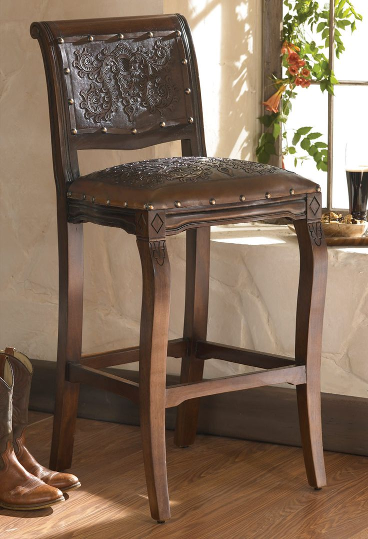 Western Furniture: Set of 2 Imperial Barstools with Tooled Leather|Lone Star Western Decor