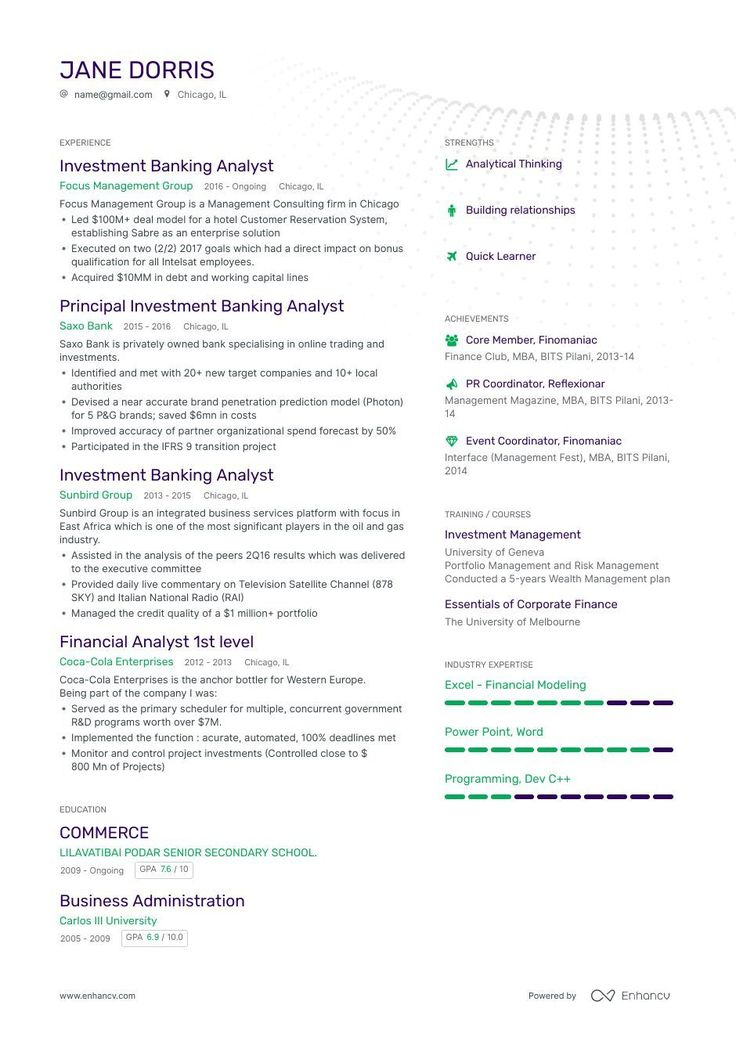 Investment Banking Analyst Resume Examples for 2019