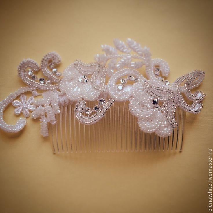 Купить Гребень для волос - белый, гребень для волос, свадебные аксессуары, свадебное украшение, прическа невесты