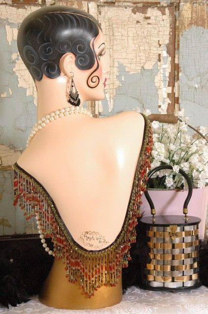 Vintage Style ART DECO Flapper MANNEQUIN Head\/Bust 25 inches Tall