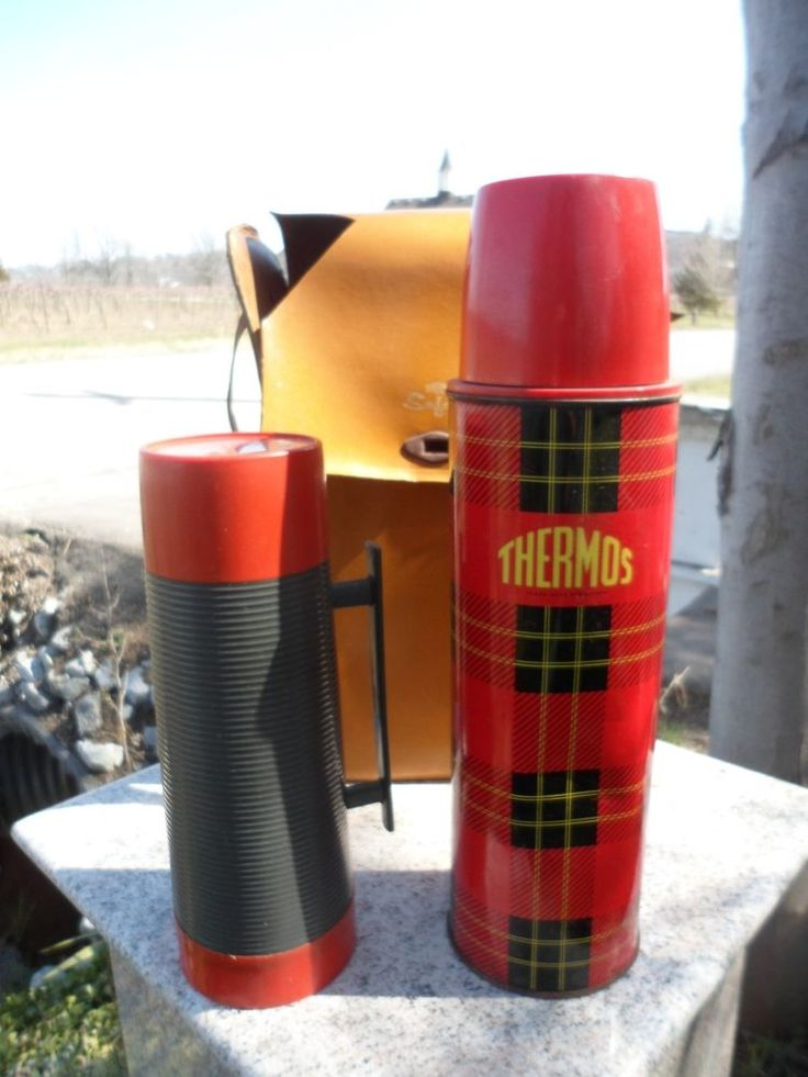 Vintage Thermos Safari 2 Bottle Set Canada Thermal Travel Mugs Plaid Aladdin | eBay