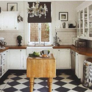Love A Black And White Kitchen Floor.