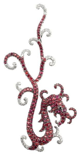 Dragon pendant in rubies and diamonds, almost looks like a seahorse~
